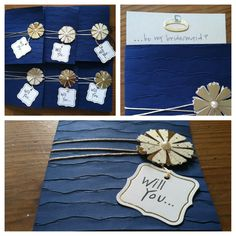 Simple way to ask bridesmaids to be a part of your wedding! Card stock, folded textured scrapbook paper, thread, scrapbook decals and tags.