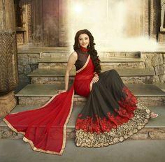 Designer Red And Brown Saree