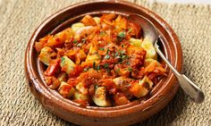 Potato pieces in a spicy tomato sauce. 'Bravas' means brave, referring to their spicy heat.