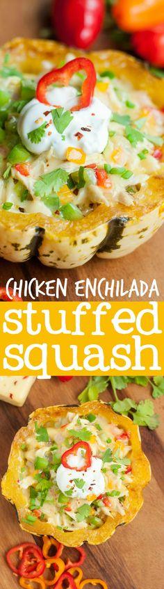 Cheesy Chicken Enchilada Stuffed Squash || peasandcrayons.com || #recipe