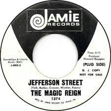 "THE MAGIC REIGN ""Jefferson Street""  b/w ""Charcoal Sketch"" 1970 Jamie. Cool Psych band from Virgina.. Don't know much about..just found it by chance and bought because name."