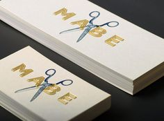 Mabe card with scissors. Gold Foil.