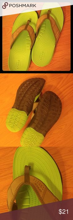 Croc Flip Flops BRAND NEW NEVER WORN MENS FLIP FLOPS! They were too small for my husband...so I would say it is a snug size 11. Super supportive, super comfy! What a great gift for you guy! CROCS Shoes Sandals & Flip-Flops
