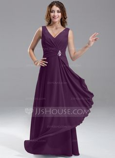 A-Line/Princess V-neck Floor-Length Chiffon Bridesmaid Dress With Beading Cascading Ruffles (007004569) - JJsHouse