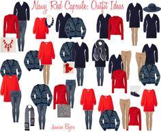 """""""Navy Red Capsule: Outfit Ideas"""" by jeaninebyers on Polyvore. Rot mit türkis oder gelb ersetzen = mein Kleiderschrank"""