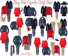 """Navy Red Capsule: Outfit Ideas"" by jeaninebyers on Polyvore"
