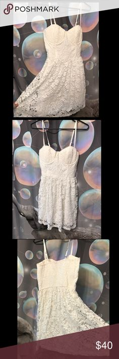 White Abercrombie and Fitch Lace Dress Super cute short lace dress with underwire cups. Excellent condition. Never worn. Abercrombie & Fitch Dresses Mini