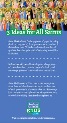 ideas for celebrating the feasts of All Saints and All Souls - Teaching Catholic Kids Saints For Kids, All Saints Day, Catholic Icing, Catholic Kids, Holidays Halloween, Halloween Themes, Infant Of Prague, All Souls Day, Prayer Cards