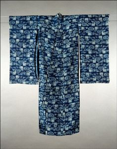 Child's furisode (formal kimono), early- to mid-1900s, indigo-dyed ramie, warp and weft kasuri on plain weave ground, artist unknown, Japanese (Omi area of Shiga Prefecture)