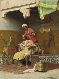 Jean Discart The Barber Shop, Tangiers date unknown, Oil on canvas, x cm, Private Collection African History, African Art, Jean Leon, Empire Ottoman, Classical Art, North Africa, Arabesque, Islamic Art, Black Art
