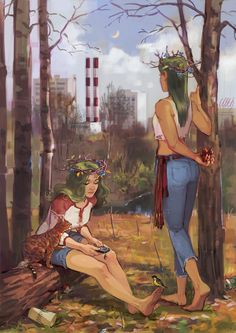 Lesavki by eleth-art on DeviantArt Art And Illustration, Illustrations And Posters, Pretty Art, Cute Art, Tableaux D'inspiration, Pulp, Fantasy Inspiration, Fantasy Artwork, Art Inspo