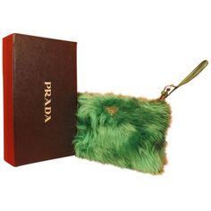 Pre-owned Prada Mint Eco Pellicia Fur Logo Clutch Gift Box Green... ($410) ❤ liked on Polyvore featuring bags, handbags, clutches, green, green purse, handbag purse, green clutches, green wristlet and zip wristlet