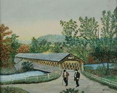 The Old Hoosick Bridge by Grandma Moses