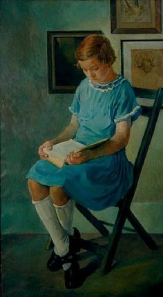 ✉ Biblio Beauties ✉ paintings of women reading letters & books - Carle Michel Boog    Portrait of a Girl in a Blue Dress Reading a Book.1925