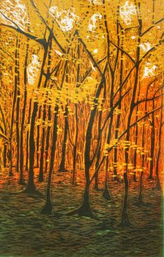 "Saatchi Online Artist: Annabel MacIver; Linocuts 2011 Printmaking ""Beech Wood at Sunrise"""