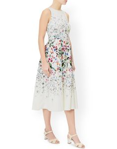 Monsoon - Nellie prom midi dress, printed with watercolour-esque flowers and trailing stems.