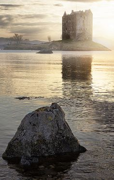 Castle Stalker sits on a spit of land in Loch Laiche, an inlet of Loch Linnhe, Scotland (not far from Ballichulish)