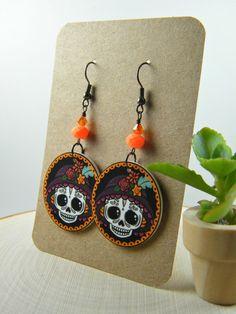 La Catrina Skull Earrings by MyMayanColors on Etsy