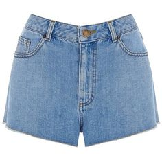 Warehouse Frayed High Waist Shorts, Bright Blue (120 RON) ❤ liked on Polyvore featuring shorts, bottoms, high waisted cuffed shorts, high waisted cut off shorts, high waisted frayed shorts, summer shorts and high rise shorts
