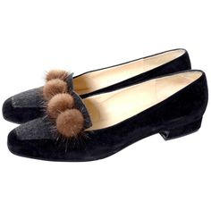 Rene Mancini Paris Vintage Shoes w/box Size 38.5 Mink Pom Poms Velvet Wool 8 | From a collection of rare vintage shoes at https://www.1stdibs.com/fashion/clothing/shoes/
