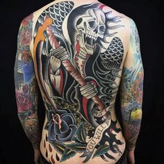 Male Full Back Raging Black Ghostly Tattoo
