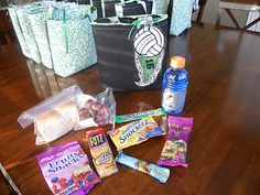 How to make vball gift - snack - goody bags for the team.