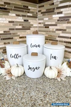 Our Marie Kondo Cloud White Ceramic Bulk Canisters are perfect for coffee, tea, and cocoa storage. Get ready for fall by shopping the collection here! (Photo by @ClutterBug_Me) Tea Storage, Kitchen Storage, Sparks Joy, Marie Kondo, Container Store, Great Coffee, Food Storage Containers, Sustainable Design, Canisters