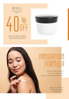 Cosmetics Sale with Woman Applying Cream — Create a Design Online Posters, Sensitive Skin, Ecommerce, How To Apply, Skin Care, Cosmetics, Templates, Make It Yourself, Cream