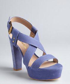 Pour la Victoire lilac leather 'Nealla' buckle platform sandals   BLUEFLY up to 70% off designer brands at bluefly.com