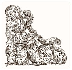 Think this could be used in part of a fantastic looking tattoo. Drawing Sketches, Art Drawings, Molduras Vintage, Image Digital, Baroque Art, Door Murals, Grisaille, Filigree Design, Leather Pattern