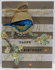 Stampin' Up Paper Pumpkin Banner Surprise Alternate Card created by Lynn Gauthier using SU's Banner Surprise Paper Pumpkin Kit, Best Birds, Banner Surprise and  Touches of Texture Stamp Sets and Birds and Blooms Thinlits Dies.  Go to http://lynnslocker.blogspot.com/2016/07/stampin-up-paper-pumpkin-june-2016.html to see how this card was made.