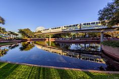 https://flic.kr/p/RML5XM | Reflections of Monorail Lime | Today's photo tour sends us to Epcot for a shot of monorail lime. I don't know about you but this is one of those shots that I will stand around for a few minutes till the monorail comes buy. I love the reflection you get from the water creating a very interesting shot. Do you ever wait in this area for the monorail to come around? Have a magical day!  Visit Disney Photo Tour on Facebook and Instagram