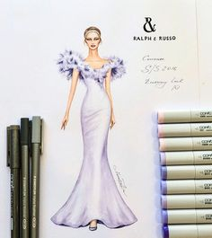 #fashionillustration #ralphandrusso #luxury #handdrawn #sketch #designer #art #glamour #luxurious #couture #event #feathers #wedding…