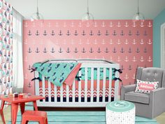 Coral, Navy, Mint Green, Pink Baby Bedding Crib Set, Anchors, Nautical, Whales, Chevron Gender Neutral Nursery Bedding
