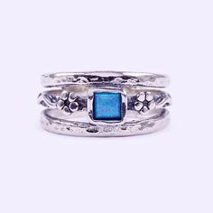 """Izraeli ezüst opál köves gyűrű """"4x4"""""""