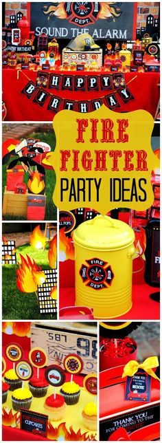 So many amazing details at this fireman party! See more party ideas at http://CatchMyParty.com!