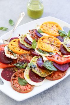Beet Caprese Salad with Lemon Basil Dressing - Love Beets