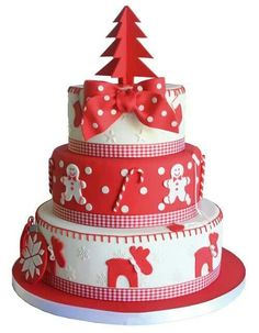 Rood witte kerst taart #christmascakes