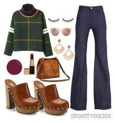 """""""that 70's show"""" by streetthreads ❤ liked on Polyvore featuring Christian Dior, shu uemura, 7 For All Mankind, La Preciosa, Michael Kors, Hourglass Cosmetics, Tom Ford, Sweater, turtleneck and clogs"""