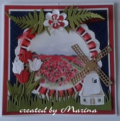 T T windmill Paper Craft Making, Garden Images, Marianne Design, Windmill, Diy Cards, Grapevine Wreath, Holland, Card Making, Ribbon