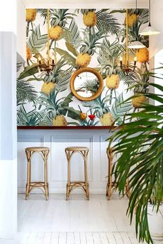 Balearic bliss and retro-tropical aesthetics inform a beach-side restaurant in affluent Cape Town suburb. Balearic bliss and retro-tropical aesthetics inform a beach-side restaurant in affluent Cape Town suburb. Design Tropical, Tropical Home Decor, Tropical Interior, Tropical Houses, Tropical Colors, Tropical Furniture, Tropical Kitchen, Modern Tropical, Tropical Vibes