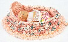 handmade crochet cradle purse travel toy church purse salmon with varigations drawstring bag BG62