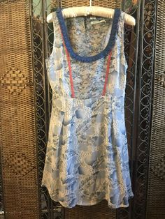 NWOT KIMCHI BLUE Urban Outfitters SILK DRESS Mixed Print Boho Retro Easter M  #KimchiBlue