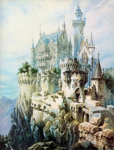 Mad' King Ludwig of Bavaria designed the famous fairy-tale castle of Neuschwanstein. This is an illustration of the castle he planned to build next, Falkenstein, however the plans were abandoned after Ludwig's death in Fantasy City, Fantasy Castle, Fantasy Places, Fantasy World, Fairytale Castle, Enchanted Castle, Cinderella Castle, High Fantasy, Fantasy Art