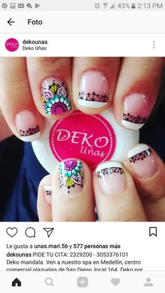 Great Nails, Cute Nails, Hair And Nails, My Nails, Hello Nails, Mandala Nails, Magic Nails, French Tip Nails, Nail Envy