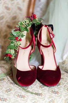 Red velvet shoes for wedding day {Happy To Be Events}
