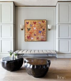 Contemporary Neutral Entry with Butterfly Painting
