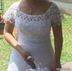vestido de novia con apliques de encaje ju..