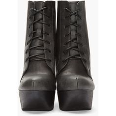 JEFFREY CAMPBELL Black Leather Cut-Out Roxie Wedge Boots (890 MYR) ❤ liked on Polyvore featuring shoes, boots, ankle booties, heels, botas, ankle boots, leather wedge booties, platform wedge booties, black leather boots and wedge heel boots