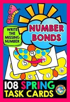 #SPRING #NUMBER #BONDS #TASK #CARDS: NUMBERS 0 TO 10 : #MATH #CENTER #ACTIVITY  This resource includes 108 number bonds task cards with numbers from 0 to 10. Children find the missing number by using tactile objects such as counters or rolling out balls made out of play dough. They could otherwise draw spots using a dry erase marker. Finally, children write the missing number with a dry erase marker.